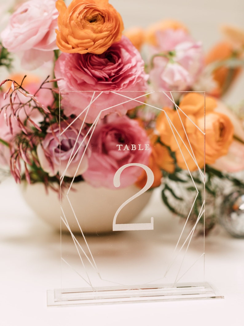 1 CT. Modern Geometric Table Numbers with Engraved Numbers image 0