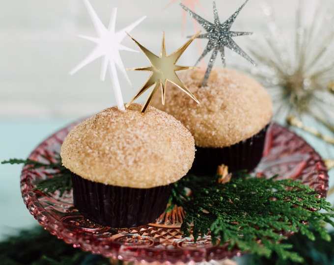 North Star 6 CT. Cupcake Toppers, Cake Topper, Laser Cut, Acrylic, Holiday and Christmas Cake Toppers