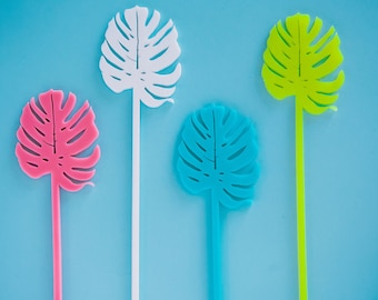 Drink Stirrers, Tropical Monstera Palm Leaf Stir Sticks, Swizzle Sticks, Laser Cut, 6 CT.