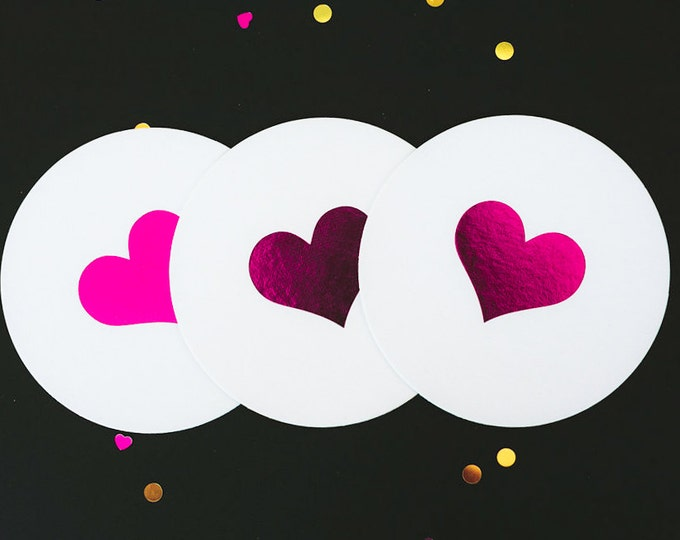 Foil Stamped Heart Coasters, Fuschia, Gold Foil, 25 CT. Party Pack