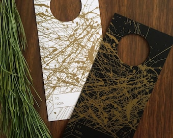 Abstract Paint Splatter Art Wine Gift Tags, Gold ink on Black and White Silk Card Stock, 8 Ct.