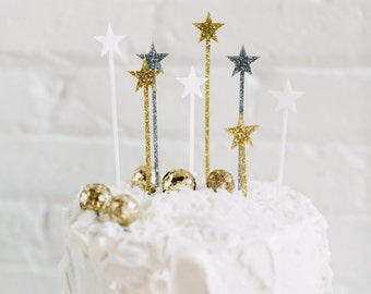 8 CT. Twinkling Star Cake Picks, Drink Stirrers, Swizzle Sticks, Stir Sticks, Appetizer Picks, Holiday and Christmas