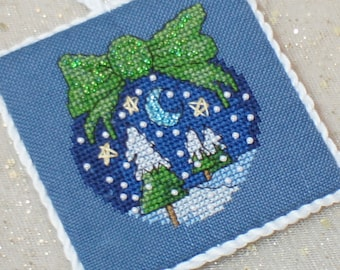 Cross Stitch Beaded Christmas Flat Ornament Peace on Earth- Handstitched