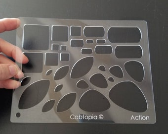 Action Cabtopia Crystal Clear Template, Cabochon, Lapidary, Jewelry Template Stencil