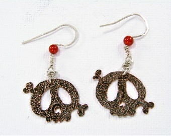 Mixed Metals Copper Etched Funky Skull Earrings with Carnelian and Sterling Silver Ear Wires