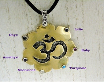 Mixed Metals Lotus Flower with Om Symbol and six different gemstones pendant necklace