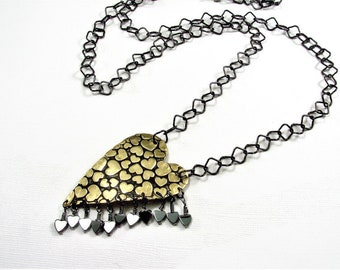 Brass and Hematite Hearts and More Hearts Pendant Necklace
