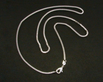Sterling Silver Box Chain, Pendant Chain, Box Chain, 16 inches, 18 inches, 20 inches, 22 inches and 24 inches