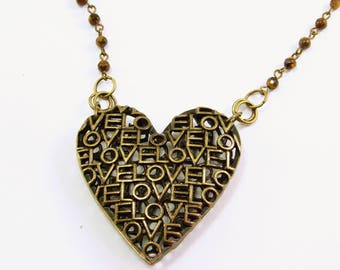 Antique Brass Metal Heart with Tiger Eye Chain
