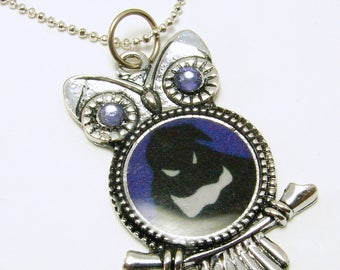 Resin Oggie Owl Pendant with Swarovski Crystal Eyes Necklace