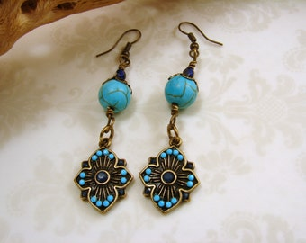 Antique Brass and Faux Turquoise Dangle Earrings, light blue and dark blue antique brass earrings