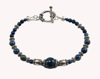 Bali Sterling Silver and Dumortierite Gemstone Beaded Bracelet