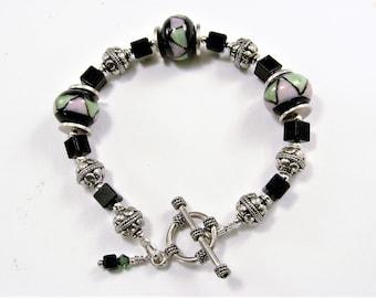 Art Glass, Swarovski Crystal and Sterling Silver Bali Bead Bracelet