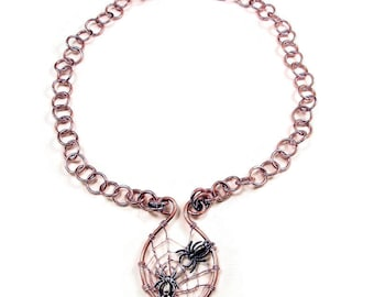 Copper Spider Web Pendant and Chain Link Necklace, Halloween Jewelry