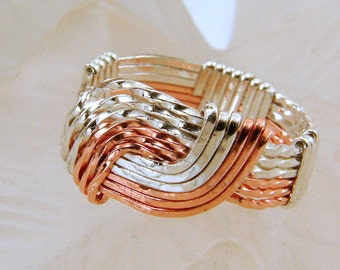 Sterling Silver and Copper Wire Wrapped Hug Ring - Any Size