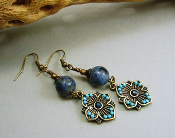 Antique Brass with Sunset Dumortierite and Turquoise Earrings