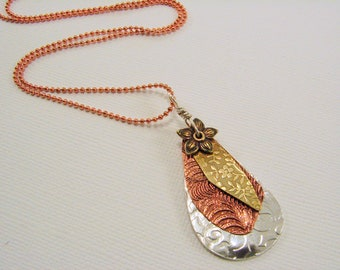 Mixed Metal Patterned Layed Pendant Necklace, Sterling Silver, Copper and Brass