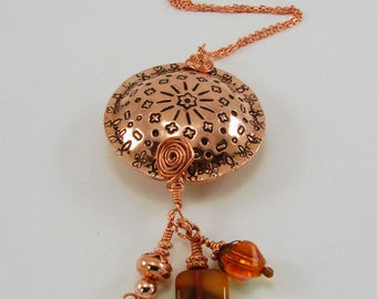 Hand Stamped Copper Mandala Big Bead Pendant Necklace
