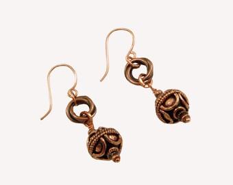 Copper Bali-Style Beaded Earrings