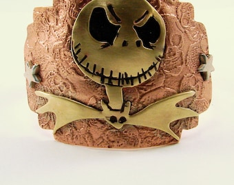 Jack Skellington Mixed Metals Cuff, Etched, Hand Cut, Hand Stamped and Riveted Copper and Red Brass Cuff