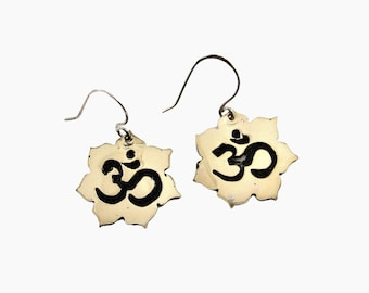 Red Brass and Sterling Silver Lotus with Om Symbol Earrings