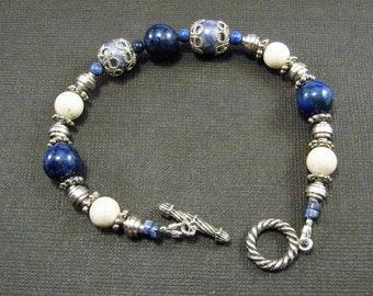 Riverstone, Sodalite and Lapis Bracelet