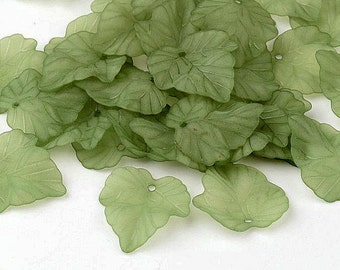 NEW Acrylic Frosted Leaves in Beautiful Green 24 MM x 22.5 MM (10) - (GL001)