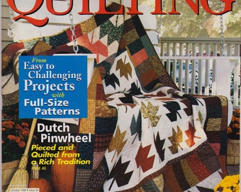 Quilters American Patchwork and Quilting Magazine October 1998 Patterns for Fall Leaves with Instructions