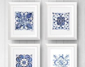 4 Mexican Talavera Tile Art Prints, Tile Wall Art Bundle