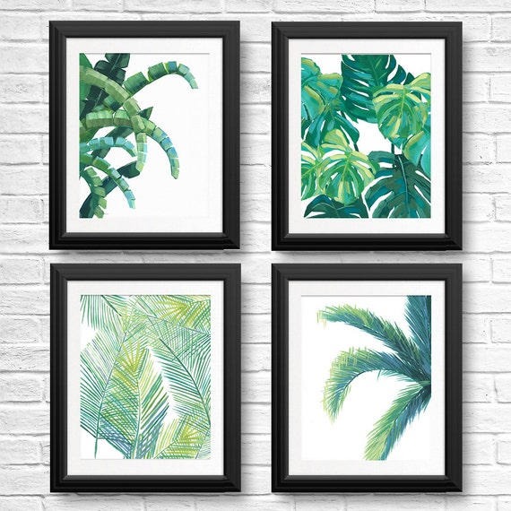 banana leaf prints tropical leaf art tropical wall art etsy