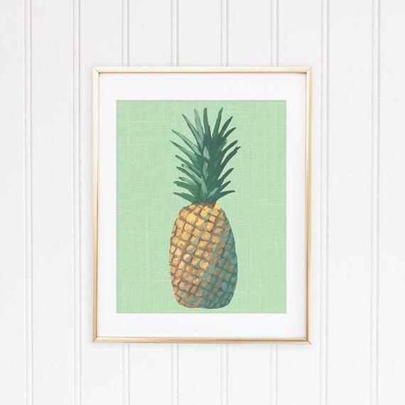 Pop Art Red Green Pineapple Framed Wall Art Print 9X7