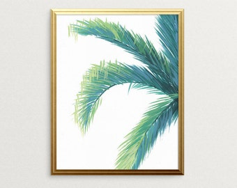 Palm Tree Print, Tropical Leaf Print, Tropical Botanical Art, Palm Tree Wall Decor, Beach House Art, Green Tropical Painting, Palm Tree Art