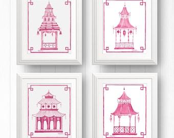 Pagoda Print Set, Pink Pagoda Art, Pink Chinoiserie Print, Pagoda Wall Print, Pagoda Picture, Preppy Pagoda, Pink Asian Art