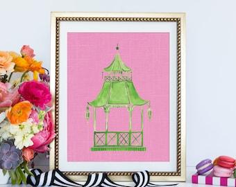 Chinoiserie Pagoda Art, Preppy Wall Art, Pink Pagoda Decor, Chinese Pagoda, Hollywood Regency, Green Pagoda, Asian Eastern Art
