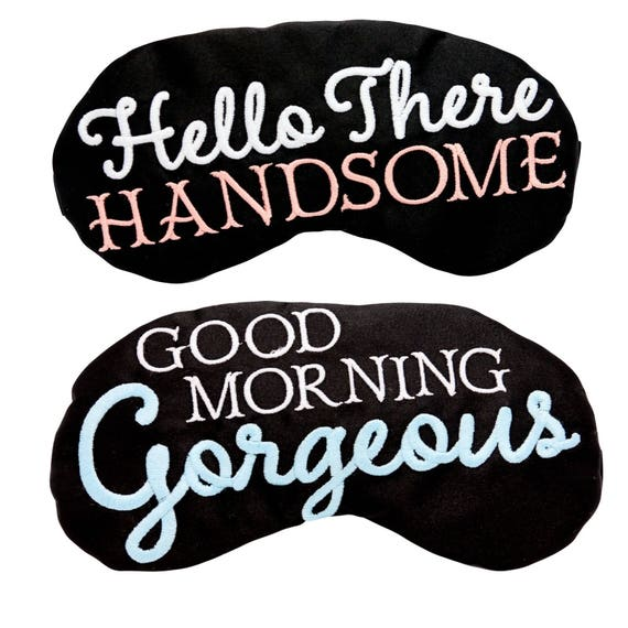 Wunderschönen Guten Morgen Und Hallo Es Hübscher Schlaf Masken Sein Und Ihrs Satin Schlafmasken Hochzeit Flitterwochen