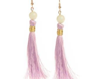 Holly Golightly Lavender Tassel Earrings with White Jade Bead