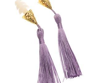 Breakfast at Tiffany's Inspired Tassel Earplugs in Lavender Holly Golightly