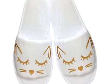 Cozy Cat Slippers - White and Gold
