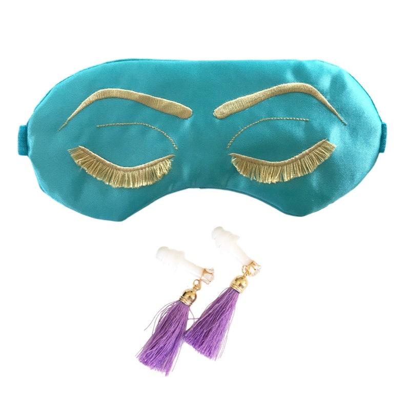0794083870326 Signature Holly Golightly sleep mask with Tassel Earplugs or Earrings  Costume Set