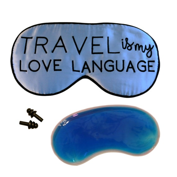 Travel is my love language holiday gift guide sleep mask