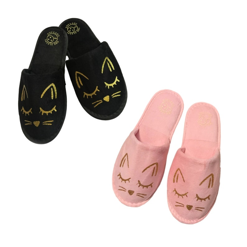 a5d79b34fe60a Cozy Cat House Slippers in Black or Pink