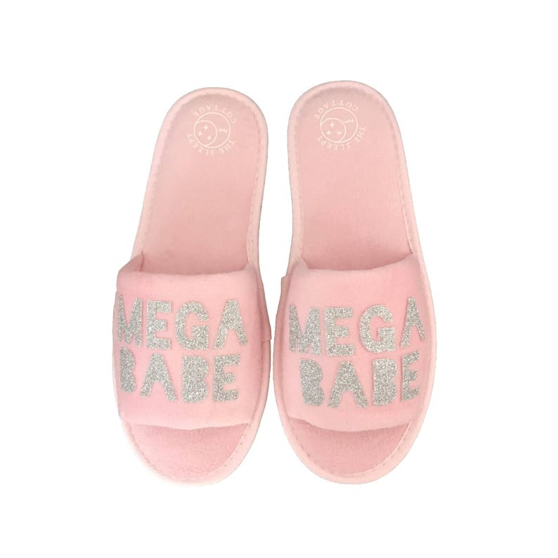 ca684f9dc9f52 Mega Babe House Slippers in Pink and Silver Girl Gang Gifts