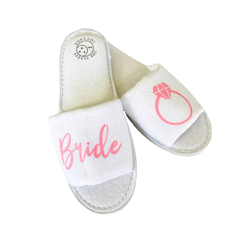 3ef8370ef39bd Pink or Gold Bride's Ring Spa Slippers