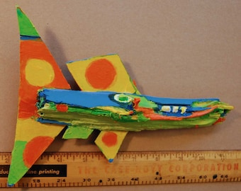 Colorful Whimsical Painted Recycled Wood Fish Art