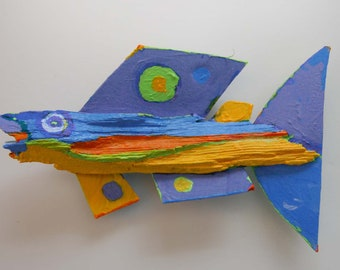 Funky Fish Art Created fom Recycled Wood and other Materials comes ready to Hang on Wall to add Color, Fun and Conversation!