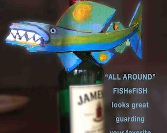 Fish Art - HANGING FUNKY FISH - Original Fish Art - Colorful Painted Recycled Wood - Blue, Green, Orange, Whimsical Fish