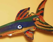 Colorful Whimsical Original Funky Fish Art Handmade READY TO HANG Creative Wood Fish Decor