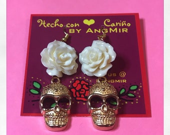 Skulls and Roses Earrings - Day of the dead