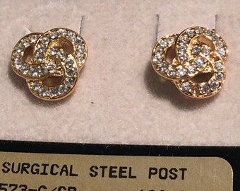 671e8660b Napier faux diamonds set in gold tone knot earrings