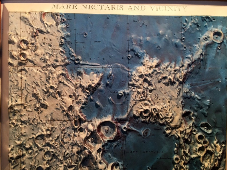 Moon Lunar Plastic Relief Map Mare Nectaris and Vicinity  1961 Framed